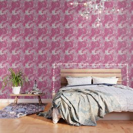 Soft Rose and Cream Marble Pattern Wallpaper