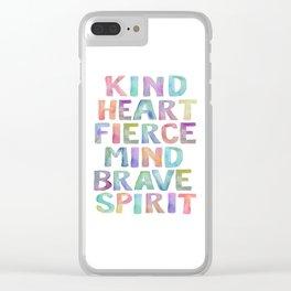 Kind Heart Fierce Mind Brave Spirit Printable Tribal Nursery Quote Girl Tribal Decor Tribal Wreath Clear iPhone Case