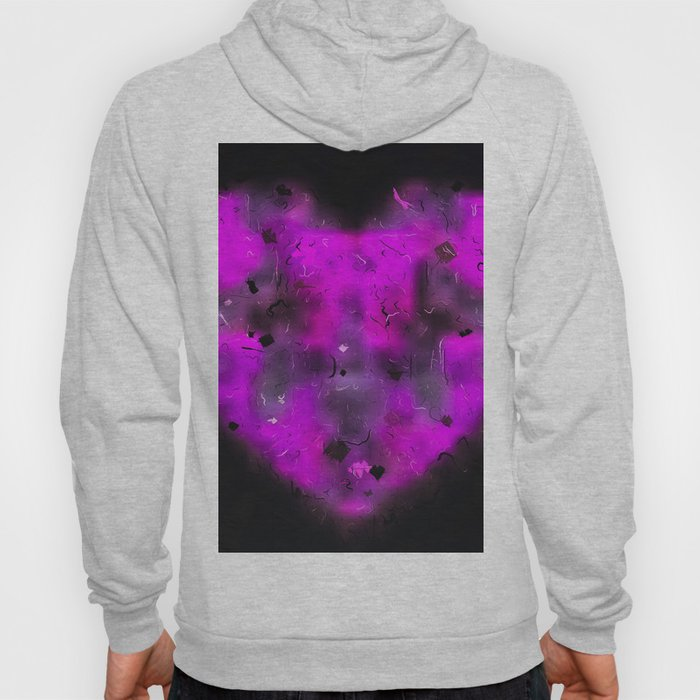 pink blurry heart shape with black background Hoody