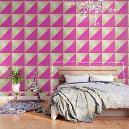 Modern hot pink & gold color block Wallpaper