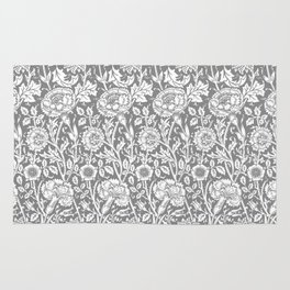 "William Morris Floral Pattern | ""Pink and Rose"" in Grey and White Rug"