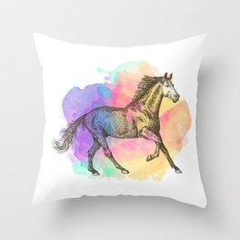Colorful Horse Gift Horse Lovers Racing Riding Throw Pillow