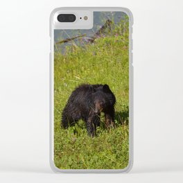 Bear cub emerges from Medicine Lake in Jasper National Park Clear iPhone Case