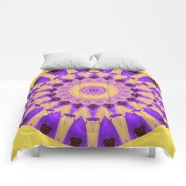 Bold Purple and Yellow Mandala Comforters