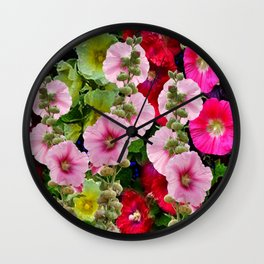 COLORFUL PINK ENGLISH HOLLYHOCKS GARDEN  COLLECTION Wall Clock