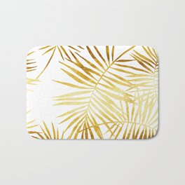 Tropical Palm Fronds in Gold Bath Mat