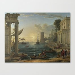 Seaport with the Embarkation of the Queen of Sheba by Claude Canvas Print
