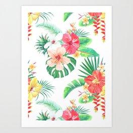 tropical watercolor floral pattern Art Print