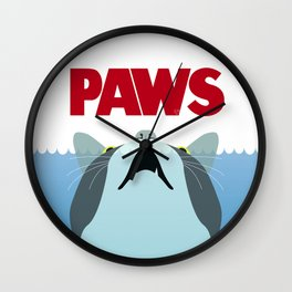 PAWS - Spoof movie poster inspired by classic cult horror film JAWS Wall Clock