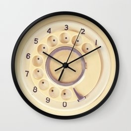 Yellow Retro Telephone  Wall Clock