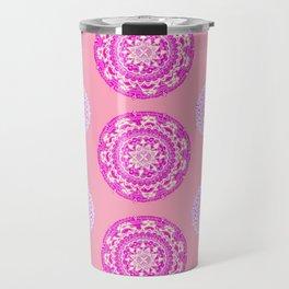 Salmon, Pink, and Purple Patterned Mandalas Travel Mug