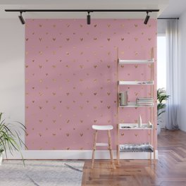 Small sketchy gold hearts pattern on pink background Wall Mural