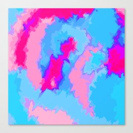 Girly Pink and Blue Abstract Digitized Watercolor Canvas Print