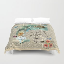 Alice In Wonderland Quote - Imagination - Dictionary Page Duvet Cover