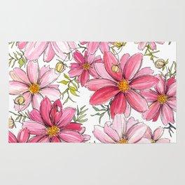 Pink Spring Flower Pattern Rug