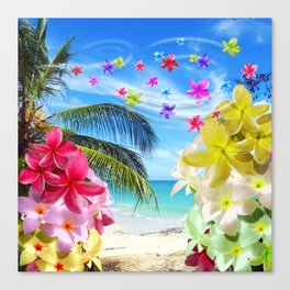 Tropical Beach and Exotic Plumeria Flowers Canvas Print