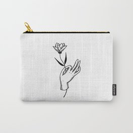 Hold This Flower for Me Please - Black on white Carry-All Pouch