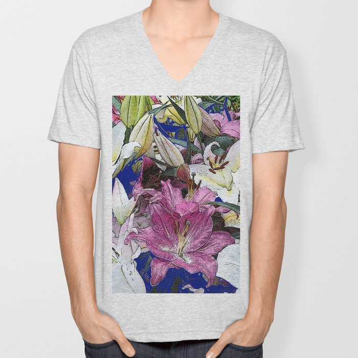 PURPLE & WHITE ASIAN GARDEN LILIES DRAWING Unisex V-Neck