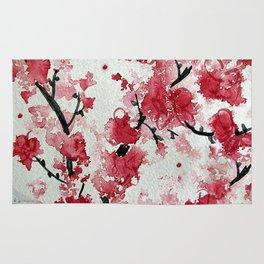 Watercolor Sakura Blossoms Rug