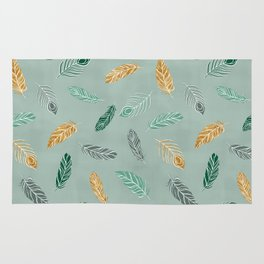 Bohemian feathers Gold and Green Rug