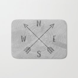 Compass Black and White Tree Bath Mat