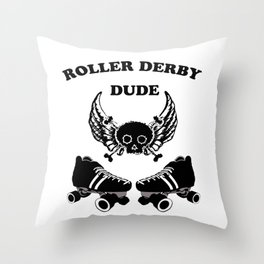 Roller Derby Dude Throw Pillow