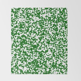 Small Spots - White and Dark Green Throw Blanket