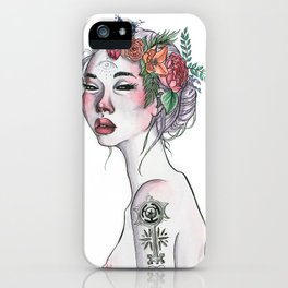 Wicked Woman Ink and Watercolour Illustration iPhone Case