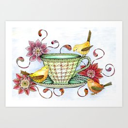 Afternoon Tea & Tweets Art Print