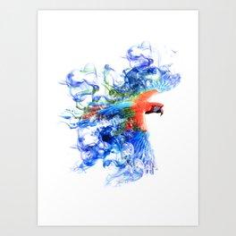 Smoking parrot Art Print