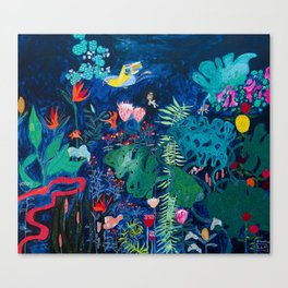 Brightly Rainbow Tropical Jungle Mural with Birds and Tiny Big Cats Canvas Print