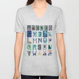 Alphabet Letter Decor Design Art Pattern Unisex V-Neck