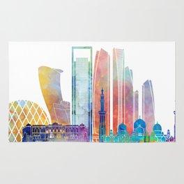 Abu Dhabi V2 landmarks watercolor poster Rug