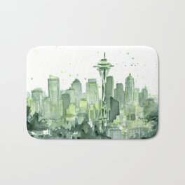 Seattle Watercolor Painting Bath Mat