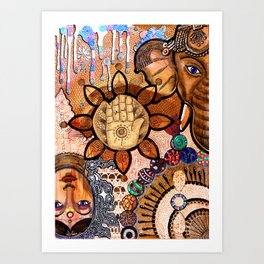 Ganesha Laxmi Blessing Art Print