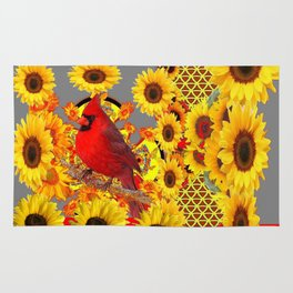 MODERN ABSTRACT RED CARDINAL YELLOW SUNFLOWERS GREY ART Rug