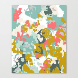 Rumor - Abstract painting, design pink mustard blue painterly design Canvas Print