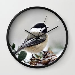 Winter Chickadee Wall Clock