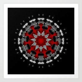 Bright Red Silver Star Flower Mandala Art Print