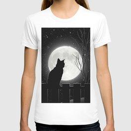 Silent Night Cat and full moon T-shirt