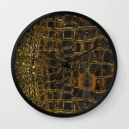 Faux gold snake skin texture on dark marble Wall Clock