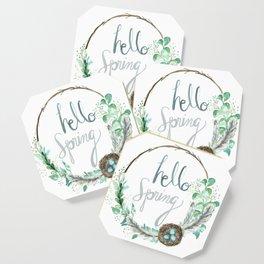 Hello Spring Eucalyptus Wreath with Nest Coaster