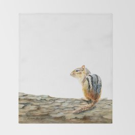 Little Chip - a painting of a Chipmunk by Teresa Thompson Throw Blanket