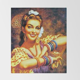 Jesus Helguera Painting of a Mexican Calendar Girl with Bangles Throw Blanket