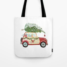 Vintage Christmas car with tree red Tote Bag