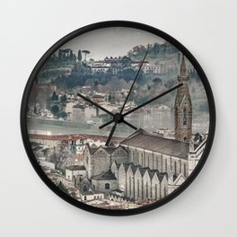 Aerial View Historic Center of Florence, Italy Wall Clock