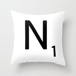 Letter N - Custom Scrabble Letter Tile Art - Scrabble N Initial Throw Pillow