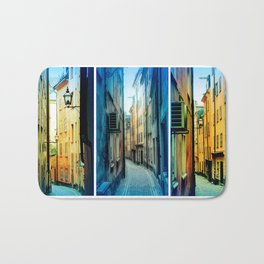 Triptych photos of alleyways in Stockholm. Bath Mat