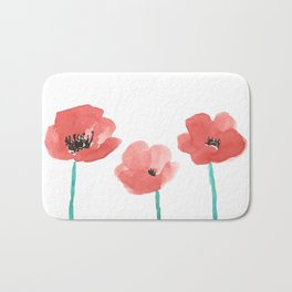 Three Poppies \\ Watercolor Flowers Bath Mat