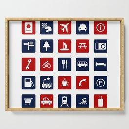 Travel Icons in RWB Serving Tray